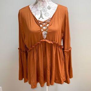 New Shein Orange Peasant Blouse 3XL